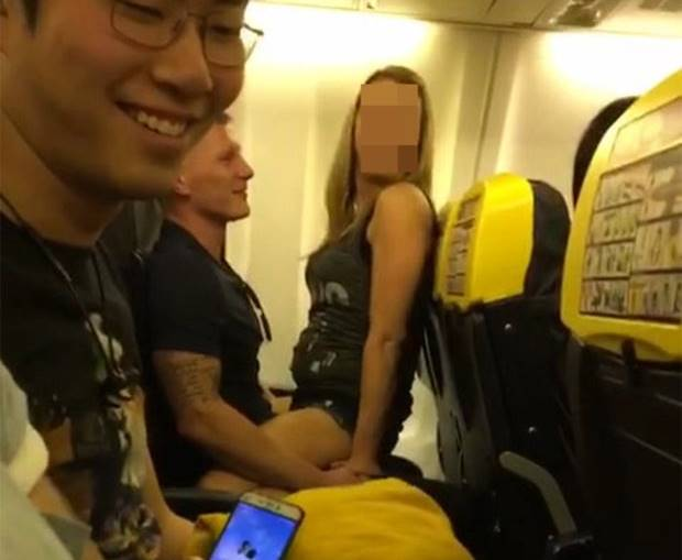 Please note sent under embargo - no use before 5pm BST JUNE 9 2017.  This randy couple had sex on a Ryanair flight last night as passengers watched in shock and one filmed the saucy behaviour on his phone. See SWNS story SWAISLE; The kinky couple didn't even bother to go to the lavatory and chose to romp in front of passengers on the flight from Manchester to Ibiza, at 8.20pm yesterday. Passengers watched as the woman clambered on top of her companion and they began to have sex an hour into the flight to the party island. Kieran Williams, 21, from Preston, Lancashire, was astonished to see the couple's raunchy antics an hour into the flight on the budget airline.